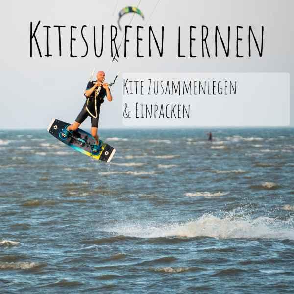 Kitesurfen-lernen-kite-einpacken-zusammenlegen
